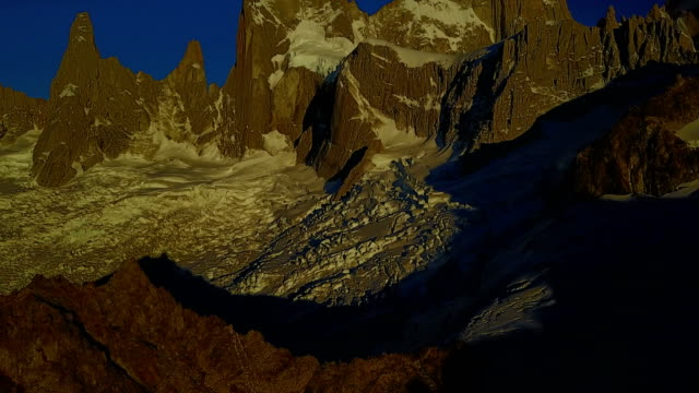 The foot of Mount Fitz Roy, flight over Glacier De los Tres, Patagonia, Argentina. View from the drone