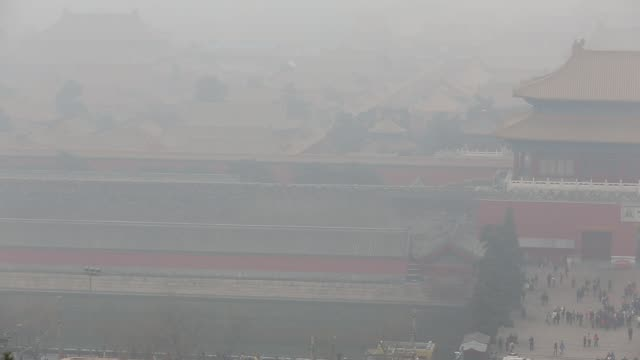 The Forbidden City is covered by heavy smog on Nov 29 2014