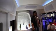 The Ford Motor Co 2015 Transit Skyliner luxury concept van is unveiled at Galpin Auto Sports in Van Nuys California US Shots of the Ford logo...