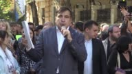 The former Georgian president and political opponent of Ukrainian President Petro Poroshenko Mikheil Saakashvili holds a protest rally near the...
