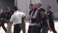 The former governor of the Mexican state of Veracruz Javier Duarte boards an aircraft in Guatemala as he is extradited to Mexico