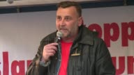 The founder of Germanys xenophobic and anti Islamic PEGIDA movement speaks at a rally on the eve of a court appearance over hate speech charges...