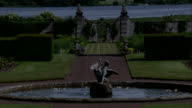 The fountain at Kinross House looks out over gardens to Loch Leven. Available in HD.