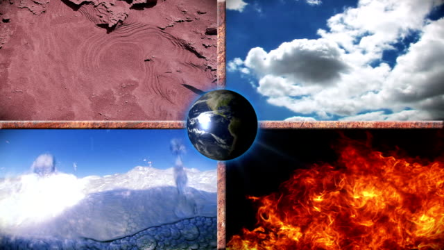 The four Elements - Earth, Water, Air and Fire
