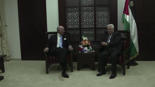 The French foreign Minister Laurent Fabius arrived in Ramallah en Sunday and met with Mahmud Abbas
