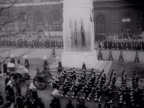 The funeral cortege of King George VI moves past the Cenotaph in Whitehall 1952