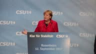 The German chancellor Angela Merkel gave a speech at a meeting of the CDU/CSU union in Rosenheim in southern Germany on Tuesday during which she...