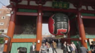 the Giant Japanese lantern at the Kaminarimon (Thunder Gate) that is an entrance gate of Senso-ji temple