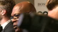 Sam Smith with Samuel LJackson in background / Sam Smith as interviewed on red carpet SOT / Sam Smith interview SOT on his Bond theme song / has...