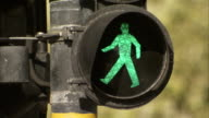 The green man of a pedestrian crossing is illuminated and then goes out. Available in HD