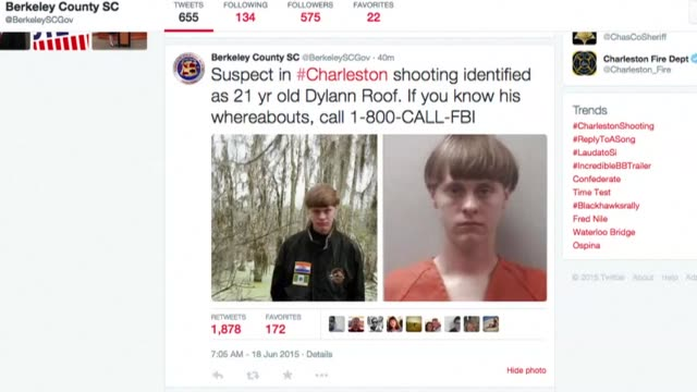 The gunman suspected of shooting dead nine people at a historic black church in Charleston has been identified as 21yearold Dylann Roof police said...