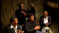The Gypsy Kings interview and acapella singing ENGLAND London Garrick Theatre INT The Gypsy Kings performing acapella song SOT