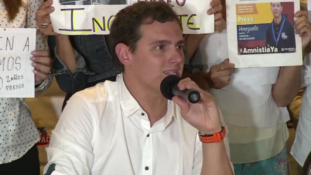 The head of the Spanish centre right Ciudadanos party Albert Rivera meets with families of what the Venezuelan opposition call political prisoners in...
