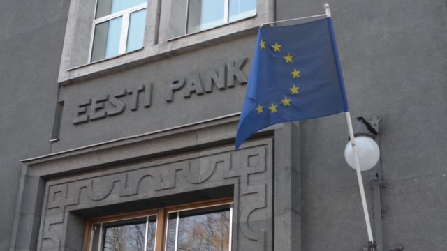 The headquarters for the Bank of Estonia the central bank of Estonia also known as the Eesti Pank are seen in Tallinn Estonia on Tuesday March 17 gvs...