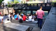 The High Line is a public park built on a historic freight rail line elevated above the streets on Manhattan's West Side / It runs from Gansevoort...