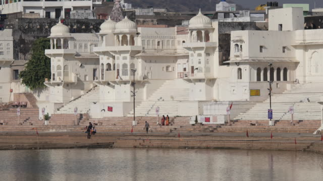 The holy ghats of the Pushkar Sarovar lake, one of the most famous religious places in north India in Rajasthan