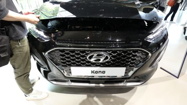 The Hyundai Motor Co Kona sport utility vehicle is displayed on stage during an unveiling ceremony in Goyang South Korea on Tuesday June 13 The...