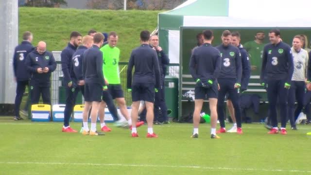 The Ireland team train ahead of their World Cup qualifier against Denmark Players include Christie Duffy Clark Ward Brady McClean and O'Dowda