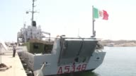 The Italian Navy vessel Tremiti was moored at the Tripoli naval base in the Libyan capital Thursday