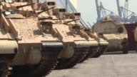 The Lebanese army received on Monday at the Beirut port in the presence of the US ambassador to Lebanon 8 American Bradley armoured vehicles type...