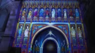 The Light of the Spirit by artist Patrice Warrener as it is exhibited in Westminster Abbey during the Lumiere London exhibition on January 13 2016 in...