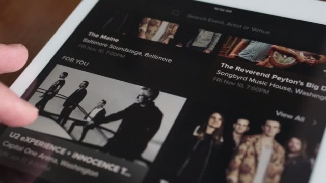 The Live Nation Entertainment Inc application is demonstrated on an Apple Inc iPad in this arranged photograph taken in Washington DC US on Friday...
