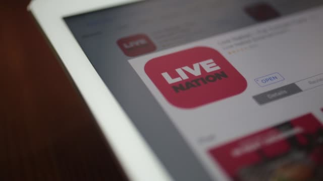 The Live Nation Entertainment Inc application is seen in the App Store on an Apple Inc iPad in this arranged photograph taken in Washington DC US on...