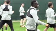 The Liverpool FC squad including Philippe Coutinho and Sadio Mane train at Melwood ahead of their Champions' League group match against Sevilla The...