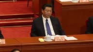 The logo of the Chinese People's Political Consultative Conference is displayed on stage prior to the opening of the CPPCC Wide shot of the...