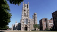 The main entrance and West Tower of Ely Cathedral. Available in HD.
