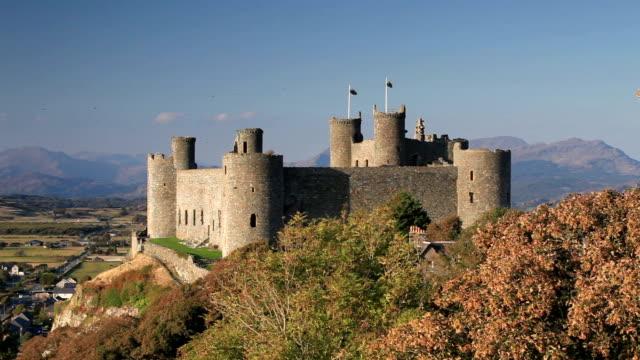 The medieval Harlech Castle in Gwynedd, Wales.