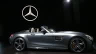 The MercedesBenz AMG GT C Roadster convertible vehicle is displayed during Automobility LA ahead of the Los Angeles Auto Show in Los Angeles...