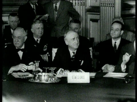 The ministers of Foreign Affairs of France America England and the Soviet Union attend a peace conference The ministers discuss the peace treaties...