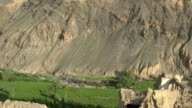 The moonscapes surrounding Lamayuru Monastery and the ruins of the Monastery premises, Ladakh, India