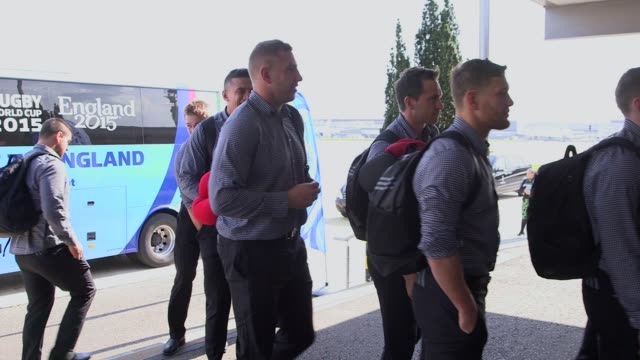 The New Zealand rugby team arrive at Rugby World Cup 2015 Arrivals at Heathrow Airport on September 15 2015 in London England