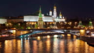 TL The night view on the Moscow Kremlin, from the bridge / Russia, Moscow