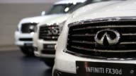 The Nissan Motor Co Infiniti FX30d vehicle stands on display during the press day of the Seoul Motor Show in Goyang Rear of Nissan Motor Co Infiniti...