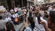 The nonprofit foundation TransitCenter hosted the 'Access Denied Press Conference Rally' outside the MTA Headquarters in Downtown Manhattan at 2...