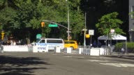 The NYPD patrolling 5th and East 72nd Street in anticipation of Pope Francis' arrival / Upper East Side Manhattan New York City USA