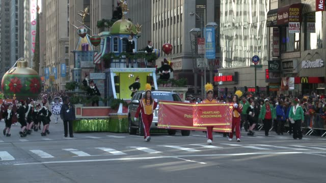 The Office Max ELF YOURSELF float featuring the Heartland Hoedowners as the elves / Macy's Thanksgiving Day Parade on November 22 2012 in New York...