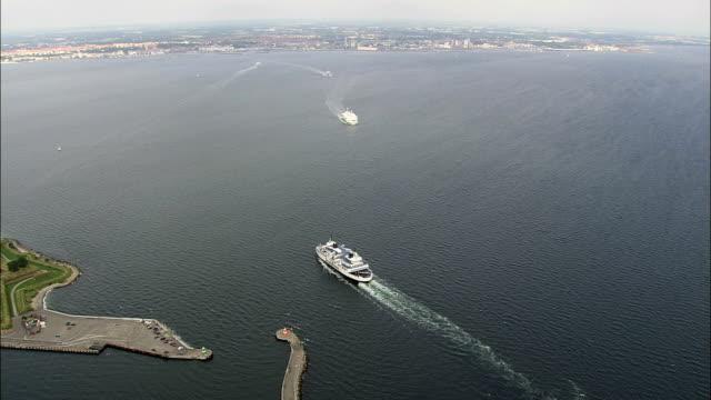 the Oresund Between Helsingor & Helsingborg  - Aerial View - Capital Region, Denmark