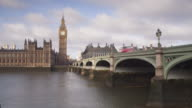 The Palace of Westminster and Westminster Bridge in London, England.