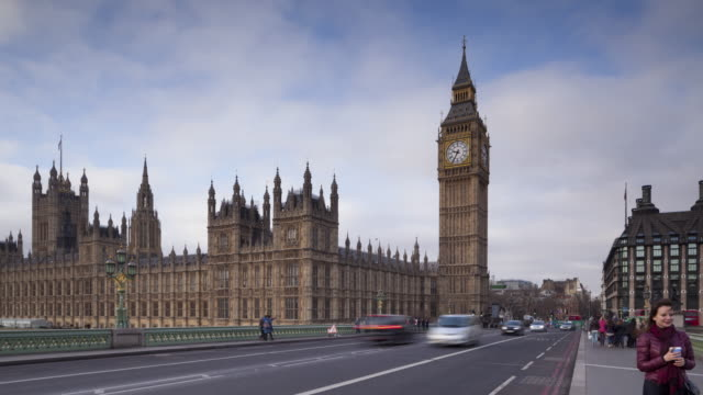 The Palace of Westminster and Westminster Bridge in London.