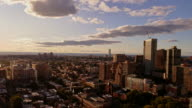 The panoramic video of the Jersey City from the rooftop, at the sunset