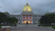 The Pennsylvania capital building in Harrisburg PA at nighttime