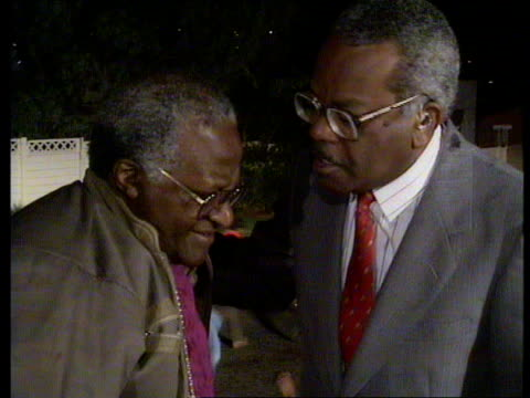 The people learn of Mandela's release date SOUTH AFRICA Soweto Trevor McDonald live intvw Archbishop Desmond Tutu ITN via SAT