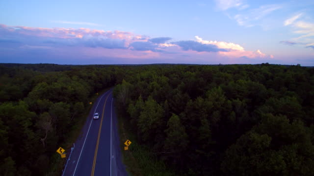 The police stopped the violator on the Long Pond Road, Pennsylvania, Poconos, USA. Aerial drone video.