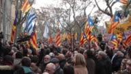 The President of the Catalan Parliament Carme Forcadell accompanied by hundreds of members of the Parliament Mayors and Proindependence activists...
