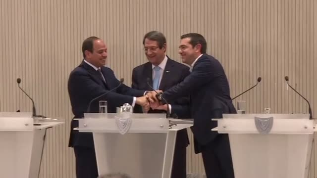 The presidents of Egypt and Cyprus and the Greek prime minister on Tuesday met in Nicosia for a meeting on issues concerning the three countries