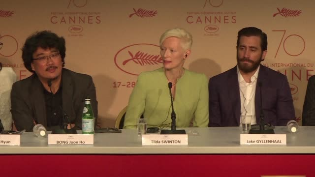 The production team for the in competition flim Okja starring Jake Gyllenhaal and Tilda Swinton gives a press conference